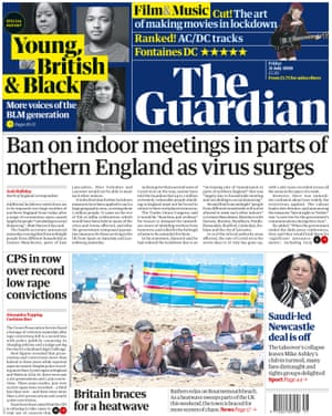 Guardian front page, Friday 31 July 2020 3rd edition