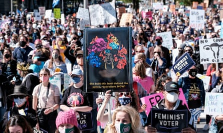 Women's March activists are seen in Washington DC.