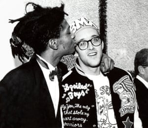 Keith Haring and Jean-Michel Basquiat at the Whitney Museum of American Art, New York, 1987.