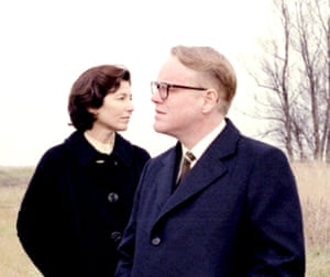 "Catherine Keener as Lee with Philip Seymour Hoffman as Capote in the 2005 film ""Capote""."