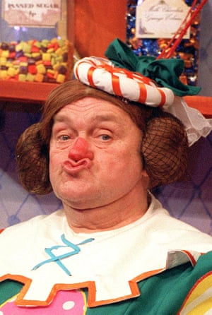 Comedian Les Dawson as Ada The Cook in the pantomime Dick Whittington at the Theatre Royal, Plymouth, 1992.