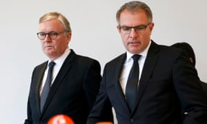 Lufthansa chief executive Carsten Spohr, right, and Germanwings managing director Thomas Winkelman, left, arrive for a news conference in Cologne.