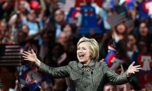 Hillary Clinton addresses supporters in Philadelphia.
