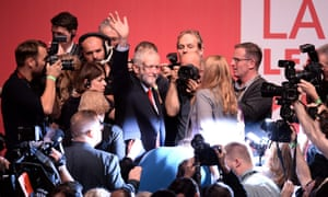 Jeremy Corbyn waving to supporters following his speech after being announced as the winner.