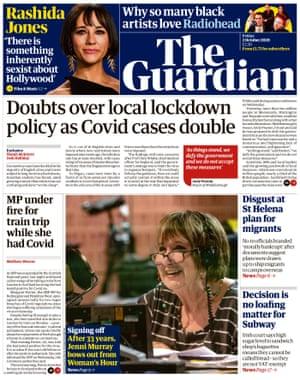 The Guardian front page 2 October 2020.