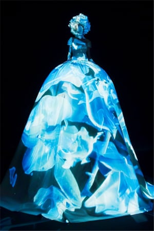 Flowers, birds and feathers were projected on to the gowns in Nick Knight's digitally manipulated film.