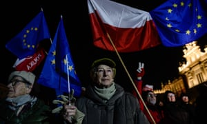 A protest against the Law and Justice party's new judiciary law in Krakow, Poland, February 2020