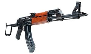 The Kalashnikov AKM, an improved version of the AK-47 automatic assault rifle