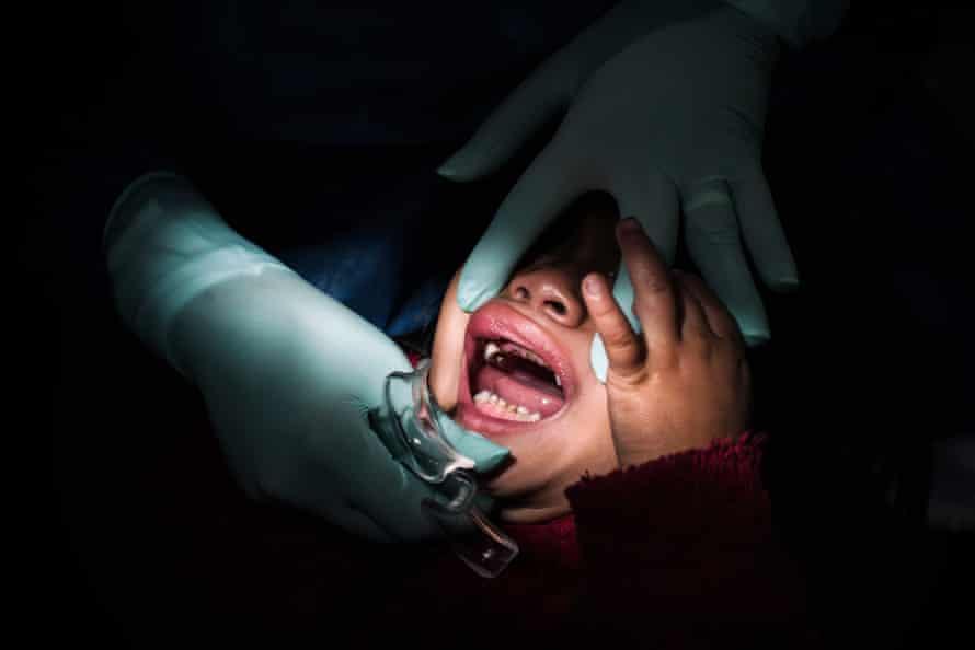 Tania, aged three, at the dentist