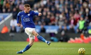 Leicester City's Harvey Barnes misses a chance.