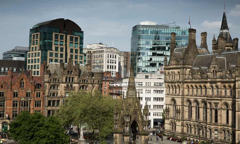 Manchester city centre skyline looking across Albert Square.