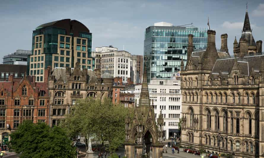 Manchester city centre skyline looking across Albert Square