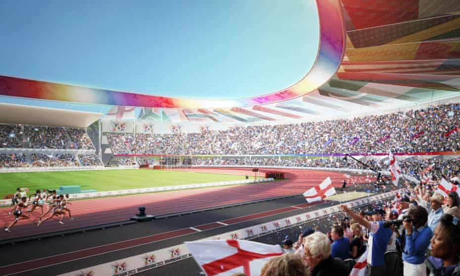 An artist's impression of Alexander Stadium in Birmingham as it will appear during the Commonwealth Games