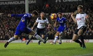Chelsea's Eden Hazard heads wide.