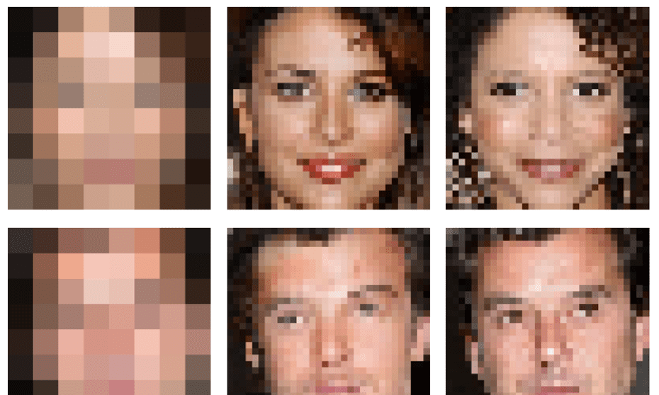 On the left, 8x8 images; in the middle, the images generated by Google; and on the right, the original 32x32 faces.