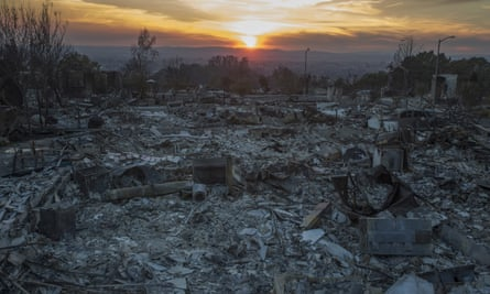 The ruins of houses destroyed by a wild fire in California.