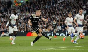 Donny van de Beek scores for Ajax at Tottenham in their 2019 Champions League semi-final.