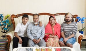 'In our culture you must have seating for everyone': Ali Hayder (second left) from Bangladesh with his family in Seaford.
