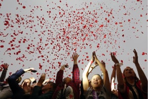 Vladivostok, Russia. School leavers during a graduation celebration
