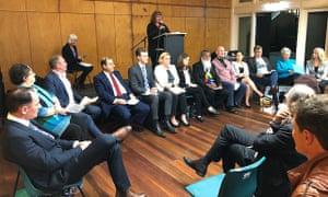 Fourteen Wentworth byelection candidates at the Bondi forum on Monday night.