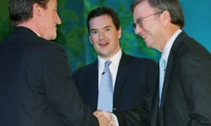 David Cameron, George Osborne and Eric Schmidt at the 2006 Conservative party conference
