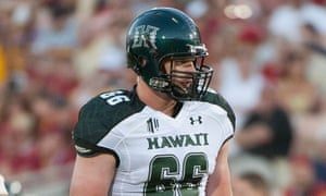 Australian offensive lineman Blake Muir, pictured during his days at the University of Hawaii, will join Jarryd Hayne at the San Francisco 49ers.