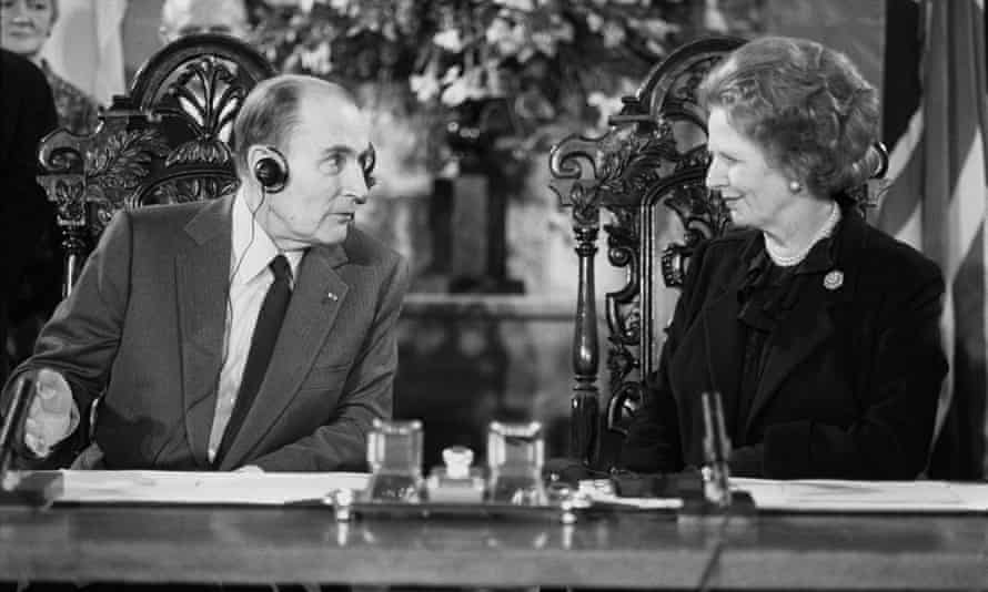Socialist Party leader François Mitterrand retained the French presidency in the 1988 election. Mitterrand and Margaret Thatcher signing the Channel Tunnel Agreement, Canterbury Cathedral, 1986.