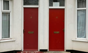 Painted red front doors are seen in Middlesbrough