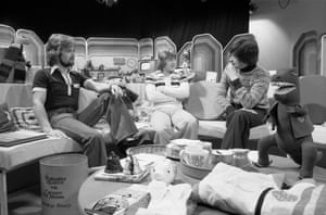 From left, Noel Edmonds, Keith Chegwin and John Craven in the studio on 'Multi-Coloured Swap Shop' in 1978