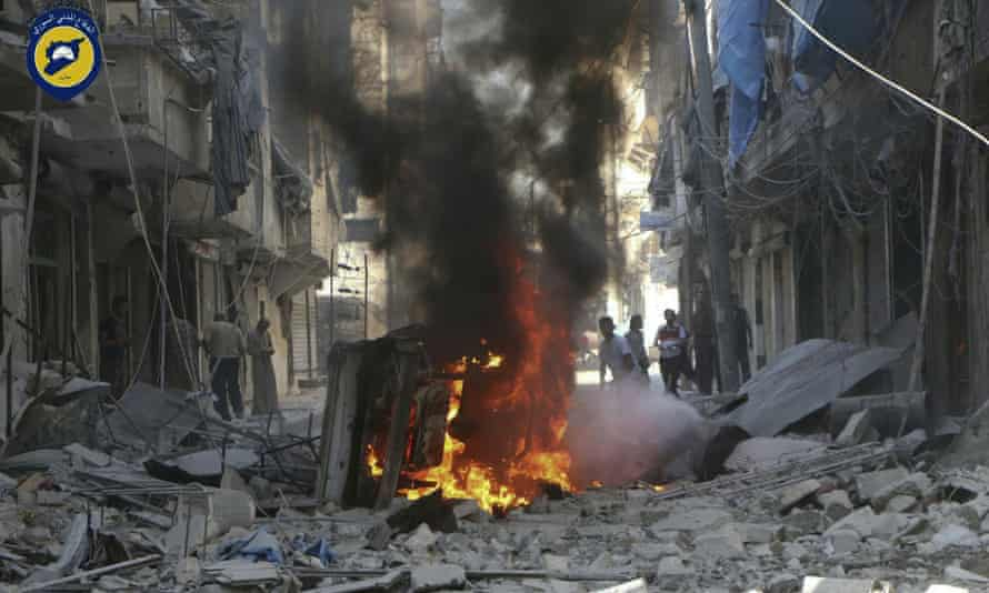 An image provided by the White Helmets search and rescue group purports to show the aftermath of a government airstrike.