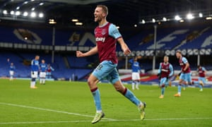 West Ham United's Tomas Soucek celebrates after scoring late in the game.