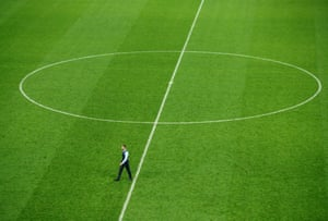 Southgate takes a lonely walk across the pitch following England's defeat to Croatia in the semi-final.