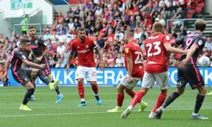 Leeds United's Pablo Hernandez scores his side's first goal.