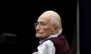 Oskar Gröning during his trial in 2015 where he was found guilty of being an accessory to the murder of 300,000 Jews.