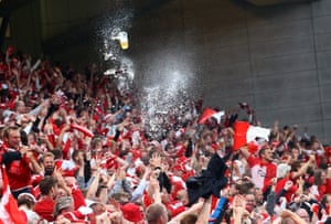 Denmark fans celebrate in the stands