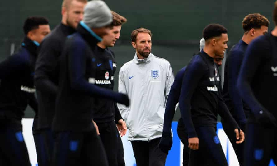 Gareth Southgate looks on as England prepare for their World Cup last-16 game against Colombia.