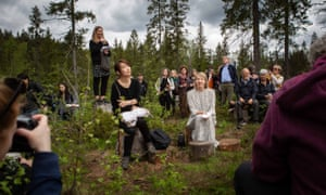 Han Kang sits with her English translator Deborah Smith in Nordmarka forest, just outside Oslo, Norway.
