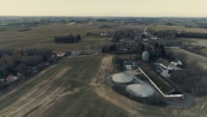 A view of the pig farm from the sky