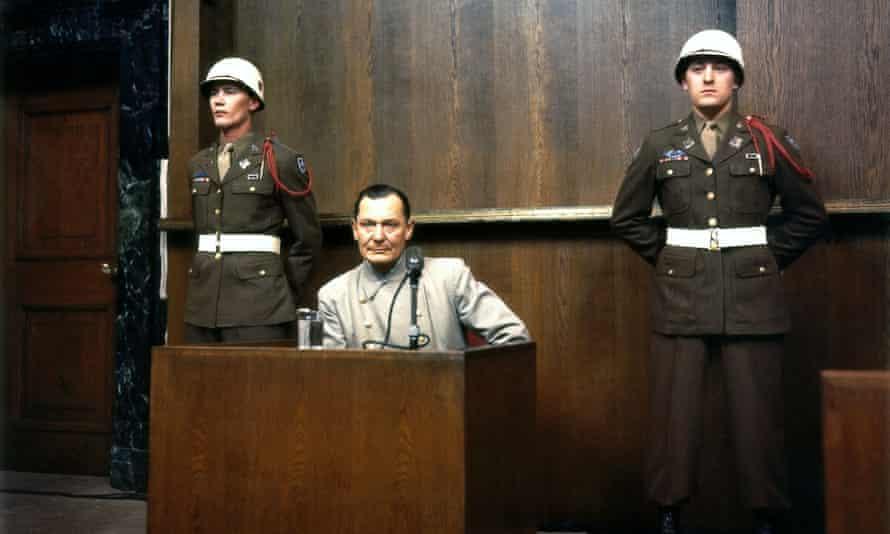 Hermann Goering during cross-examination, Court House, Room 600, International War Crimes Trial Nuremberg, 20 November 1945 - 1 October 1946.