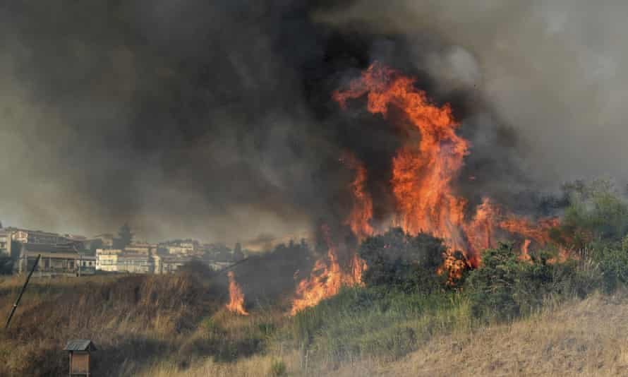 A fire breaking out in Blufi, near Palermo, Sicily, on Tuesday this week.