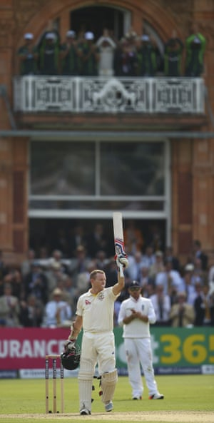 The Australian balcony lead the applause as Chris Rogers celebrates his century