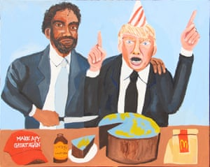 Vincent and Donald (Happy Birthday) (2018) by Vincent Namatjira.