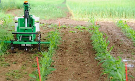 A demonstration of a weeding robot on a farm in Saint-Hilaire-en-Woevre, France