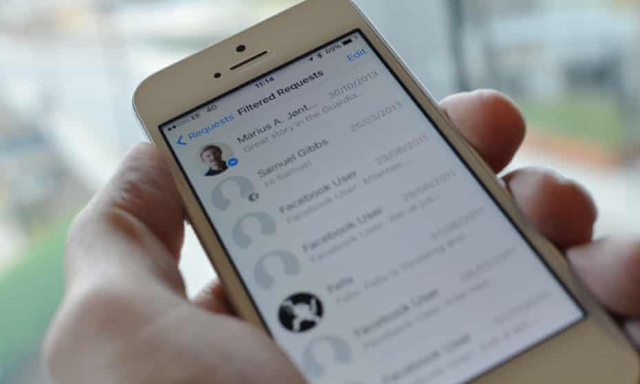 Facebook's filtered messages inbox on an iPhone SE
