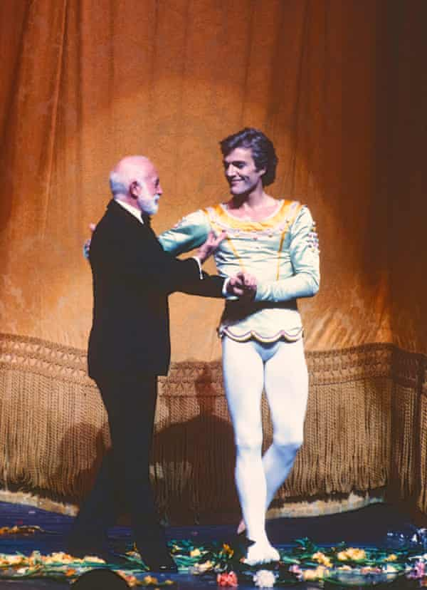 After his final performance with the New York City Ballet, Peter Martins (right) is greeted by Jerome Robbins in 1983.