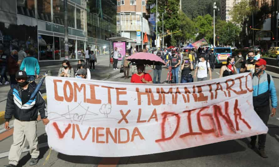 Indigenous and social leaders march on the streets of Bogota in July. Danelly Estupiñán said the coronavirus had only added to the violence.