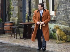 Hugh Grant on the set of A Very English Scandal in Chittlehampton, north Devon.