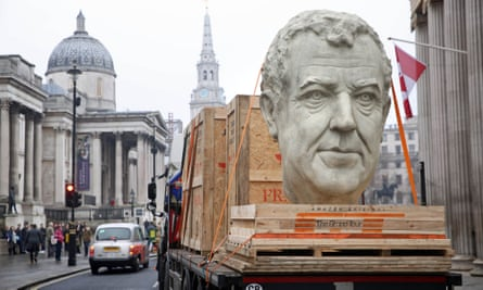 A model of Grand Tour presenter Jeremy Clarkson is driven through London.