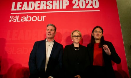 Keir Starmer, Rebecca Long-Bailey and Lisa Nandy at a hustings for members in Brighton last month