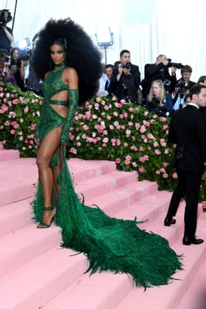 Crowning glory: Ciara in a jade green Dundas gown
